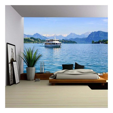 Lucerne Large Wall (wall26 - Cruise Ship in Front of Snow Covered Alps Mountains Peaks on Lake Lucerne, Central Switzerland - Removable Wall Mural | Self-Adhesive Large Wallpaper - 100x144)