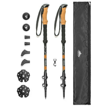 Cascade Mountain Tech Quick Lock Aluminum Trekking Poles with Cork Grip