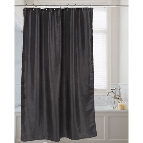 Carnation Shimmer Faux-Silk Shower Curtain - Black