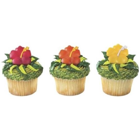 Hibiscus Tropical Flower Cupcake Ring Decoration -Set of 12 - Tropical Cupcakes