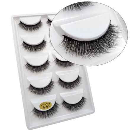 Fashion 5 Pairs Pack 3D Mink False Eyelashes Wispy Cross Long Thick Soft Fake Eye Lashes Set