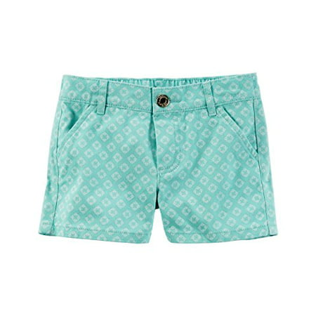 Little Girls' Printed Twill Shorts; Green, 4 Kids