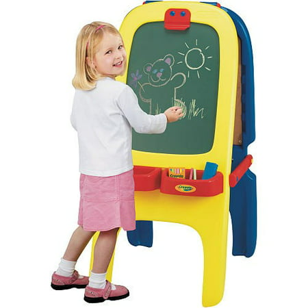 Crayola 3-in-1 Magnetic/Dry Erase and Chalkboard Fold-Away Easel With Storage, 77 Magnetic Letters/Numbers
