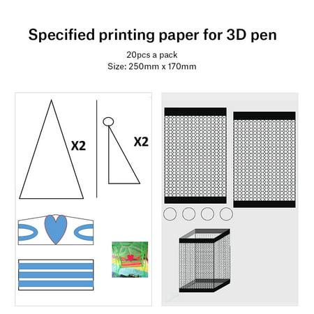 Fyydes Papier de modèle de bricolage, papier de modèle pour les enfants, 20pcs 3D Pen Printing Paper Painting Graffiti Template 40 Cartoon Patterns for Kids DIY - image 5 de 8