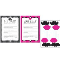 Pack of 6 Pink and Black He Said She Said Bachelorette Party Games with Mustache and Lip Props