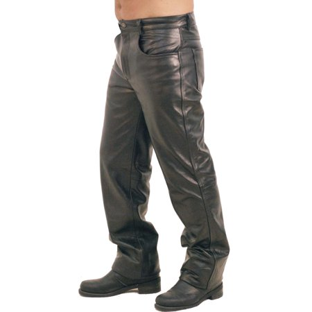 Black Leather Motorcycle Pants - Premium Buffalo Men's Leather Pants #MP750