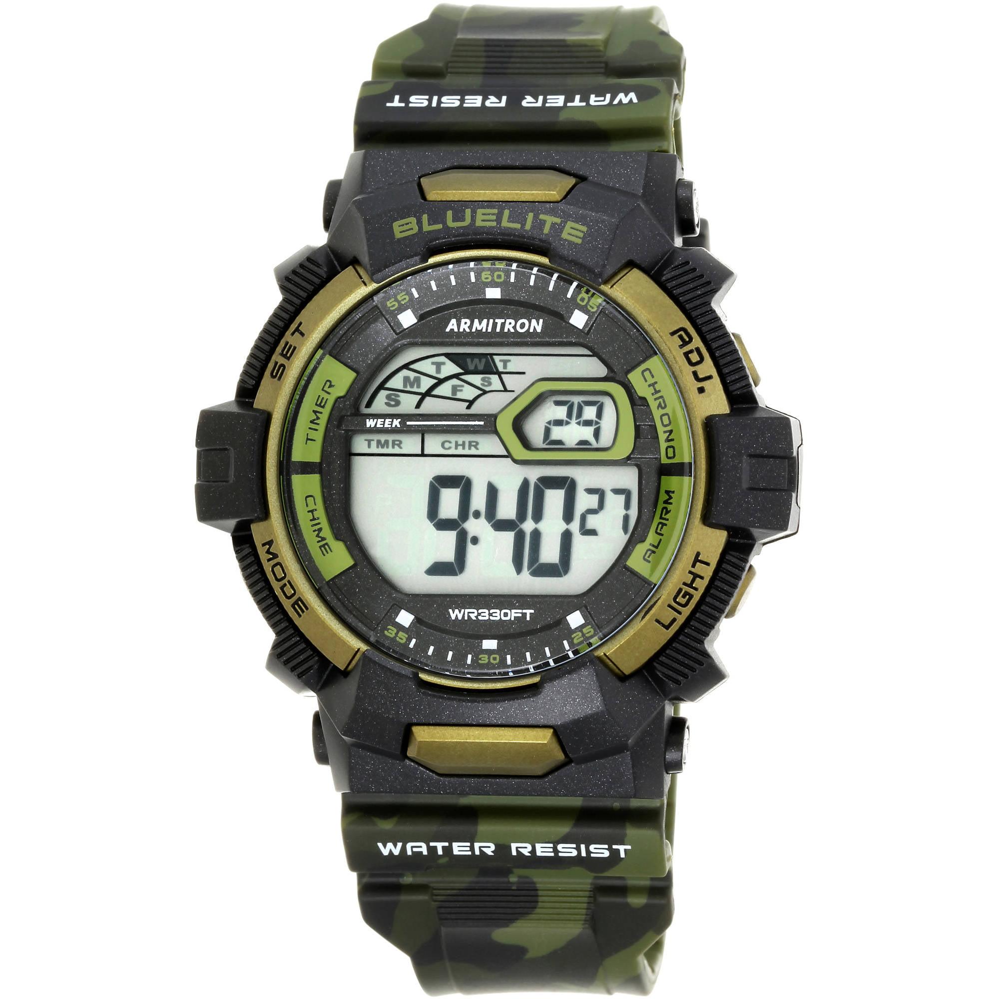 Armitron Men's Sport Countertop Green Camouflage Watch, Resin Band