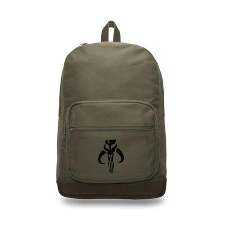 Star Wars Mandalorian Skull Boba Fett Backpack with Leather Bottom, Olive & - Boba Fett Jetpack Backpack
