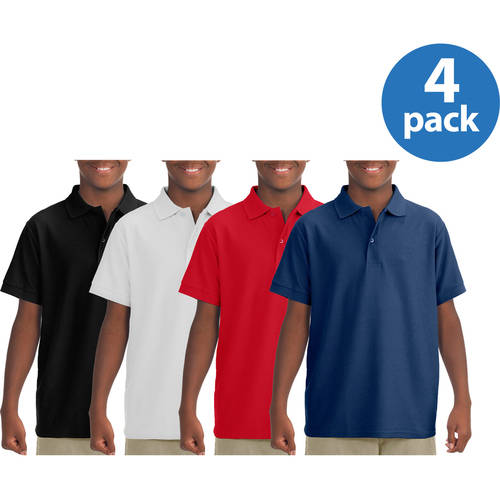 Jerzees Boys' Short Sleeve Wrinkle Resistant Performance Polo Shirt, 4 Pack