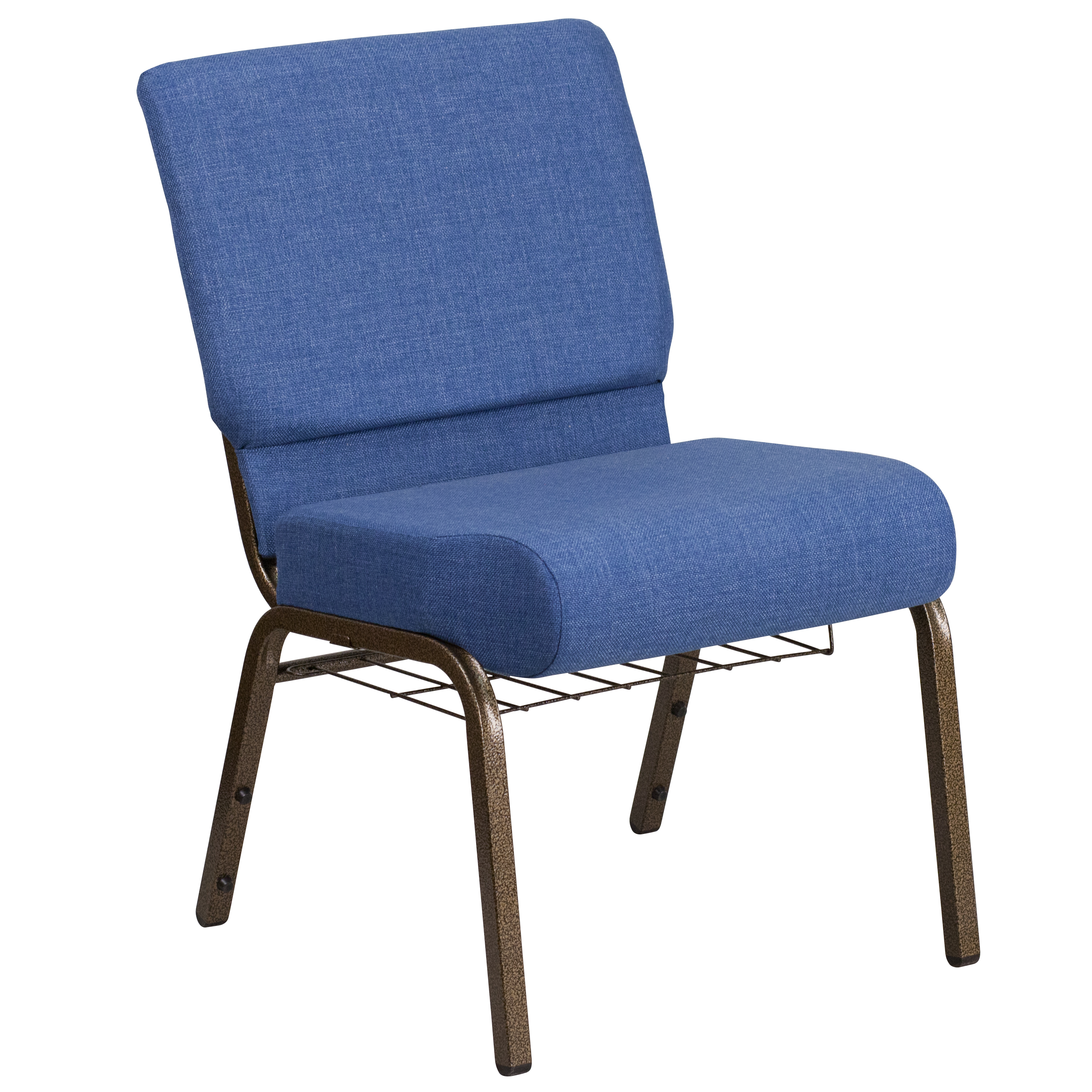 Flash Furniture HERCULES Series 21'' Wide Blue Fabric Church Chair with 4'' Thick Seat, Cup Book Rack - Gold Vein Frame(base UPC0088914207576)