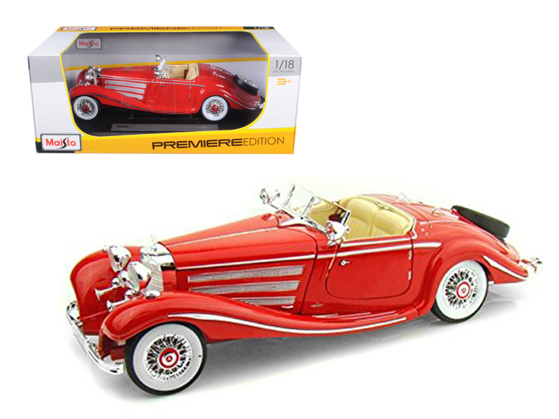 1936 Mercedes 500K Special Roadster Red 1 18 Diecast Model Car by Maisto by Diecast Dropshipper