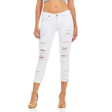 Cover Girl Women's Cropped Ripped Distressed Skinny Jeans Size 15 White
