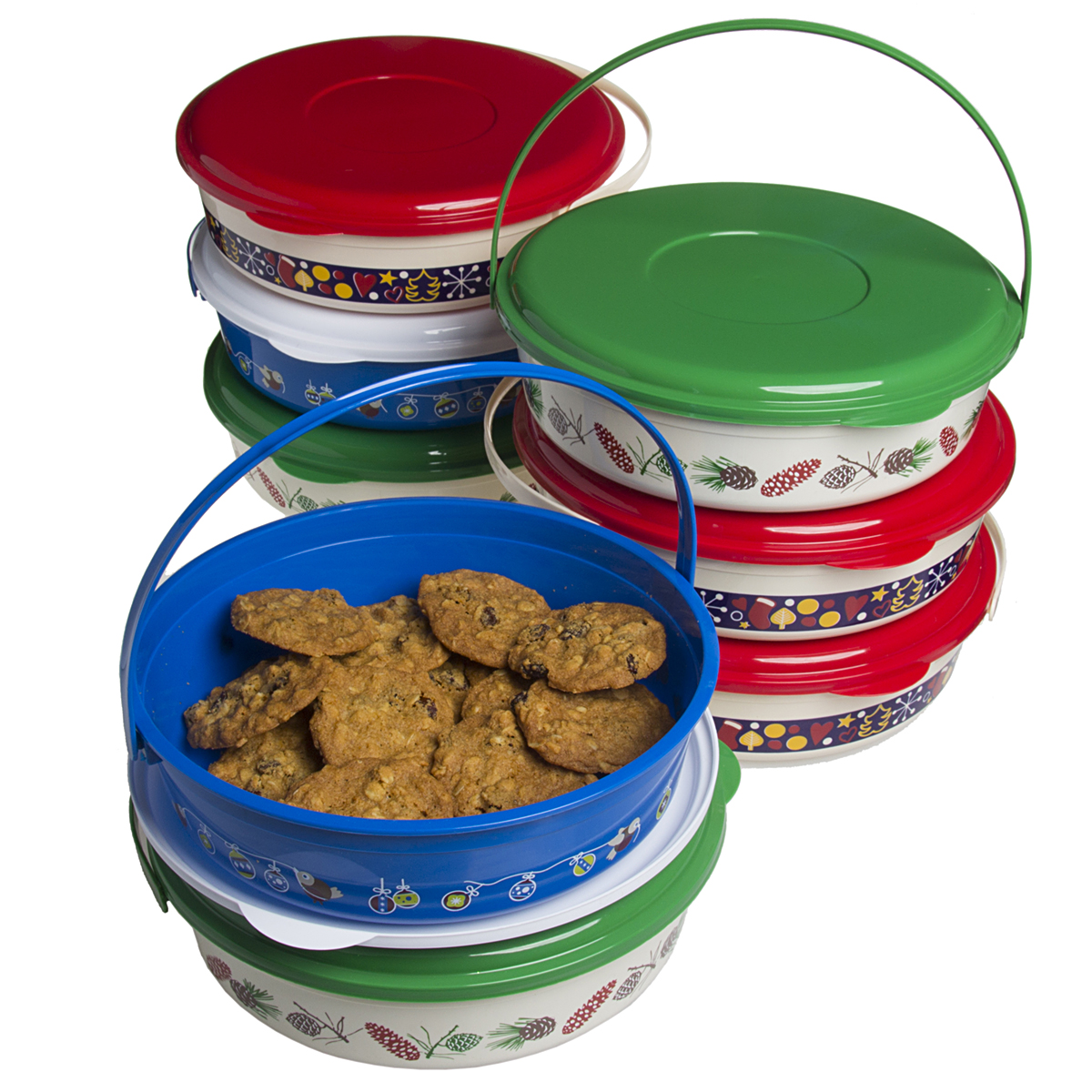8 Pack Holiday Treat Carriers With Lids Handles Christmas Food Storage Containers Set