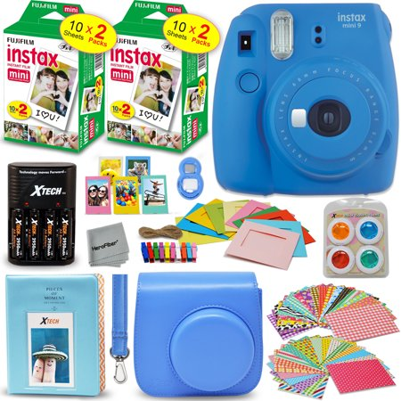 Large Square Album - Fujifilm Instax Mini 9 Instant Camera (Cobalt Blue) + INSTAX Film (40 pack) + Custom Fitted Case + 4 AA Rechargeable Batteries & Charger + Assorted Frames + Photo Album + Large Selfie Mirror + MORE