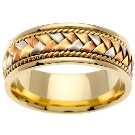 18K Tri Color Gold Basket Braid Handmade Comfort Fit Men