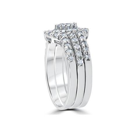 1 1/10ct TDW Round Cut Diamond Trio Engagement Guard Wedding Ring Set White Gold - image 1 de 3