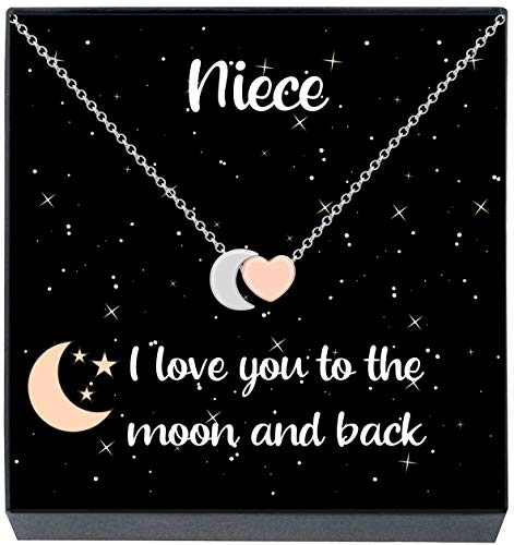 """Birthday Mothers Day Anniversary Aroncent /""""I Love You to The Moon and Back/"""" Love Heart Necklace Pendant,Best Gift for Valentines Day"""