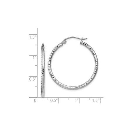 14k White Gold Diamond Cut Hoop Earrings 1 Inch 2 00 Mm Image