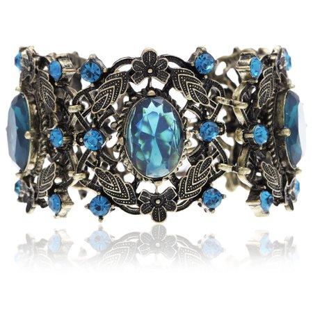 Bronze Tone Antique Inspired Sapphire Blue Garden Oval Stone Bangle Bracelet