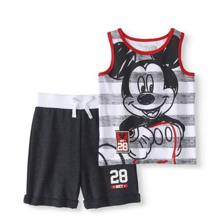 Mickey Mouse Outfit For Boys (Mickey Mouse Toddler Boy Tank & French Terry Shorts 2pc Outfit)