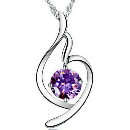 Designer Inspired Purple CZ Silver-Tone Distorted Heart Necklace, 18