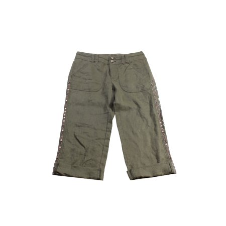 - Inc International Concepts Olive Linen Embellished Cargo Pants 6
