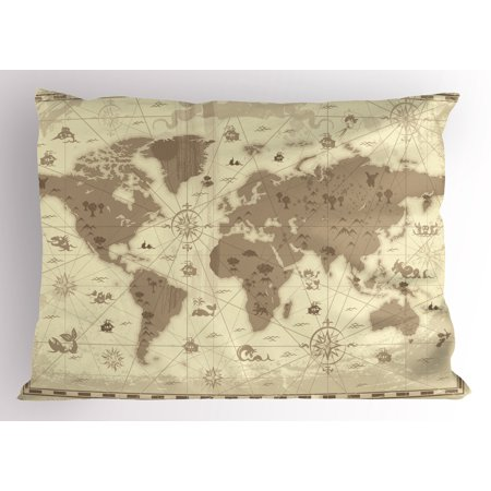 Map Pillow Sham Aged Retro Styled Map of the World with Mountains Fantasy Monsters and Compass, Decorative Standard King Size Printed Pillowcase, 36 X 20 Inches, Sepia Pale Yellow, by Ambesonne