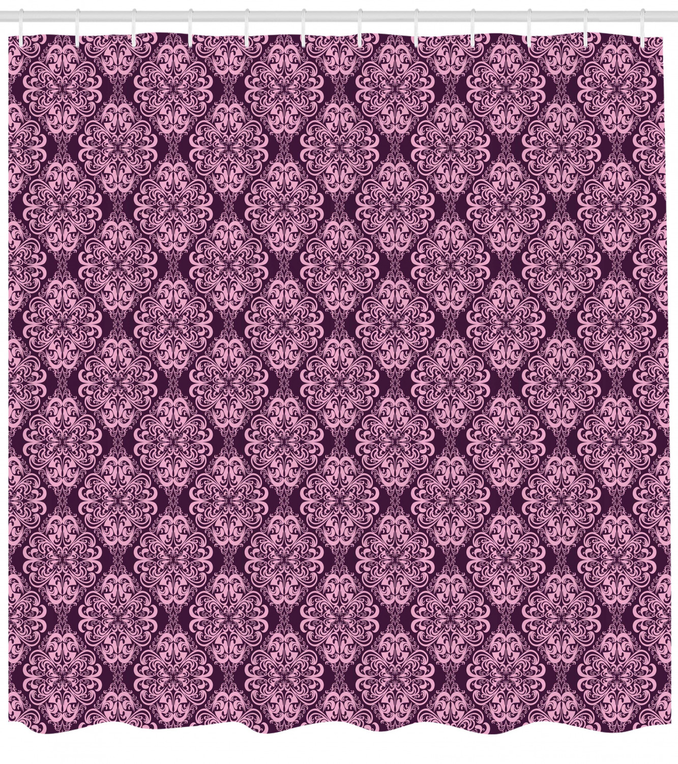 Sweet Home Collection Jasmine Plum Bathroom Fabric Shower Curtain and Hook Set