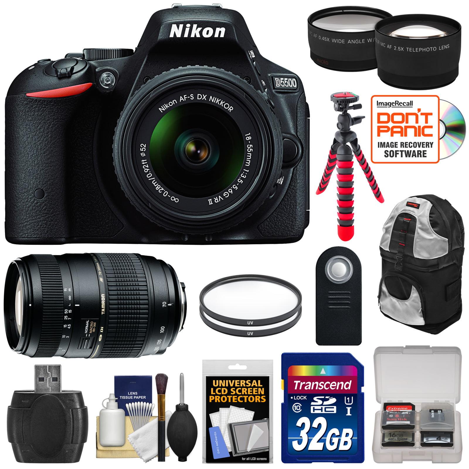 Nikon D5500 Wi - Fi Digital SLR Camera & 18 - 55mm VR DX II Lens (Black)  -  Factory Refurbished with 70 - 300mm Lens + 32GB Card + Backpack + Flex Tripod + Filters + Tele / Wide Lens Kit