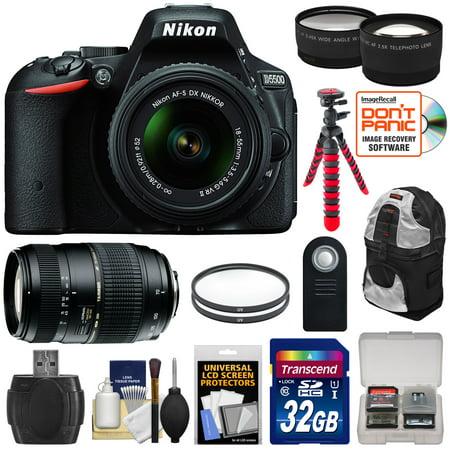 Nikon D5500 Wi-Fi Digital SLR Camera & 18-55mm VR DX II Lens (Black) - Factory Refurbished with 70-300mm Lens + 32GB Card + Backpack + Flex Tripod + Filters + Tele/Wide Lens Kit