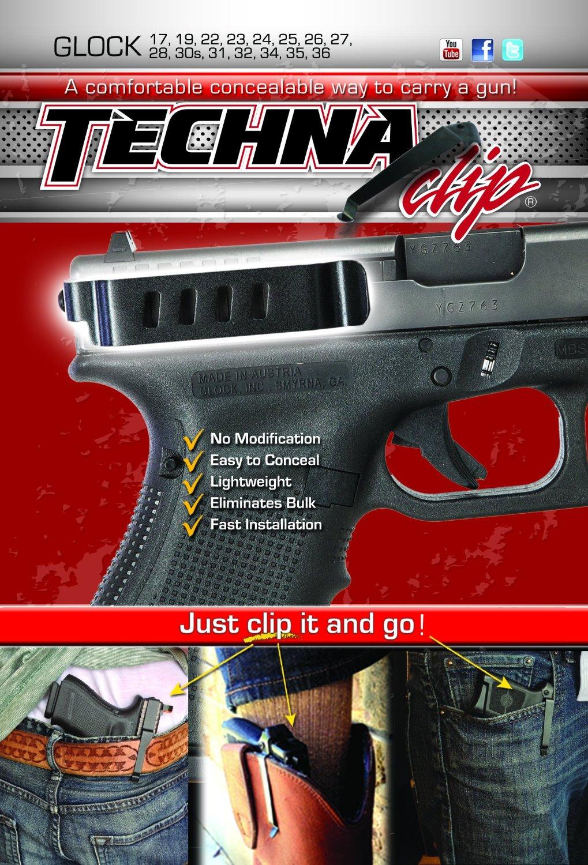 Techna Clip Belt Clip, Fits Glock 17 19 22 23 26 27 31 32 33, Ambidextrous, Black Finish GLOCK-BRL by Techna Clip