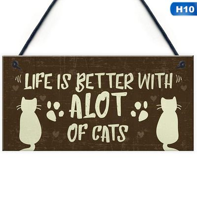 KABOER 1pcs Wooden Friendship Cat Pets Hanging Pets Gifts Wood Hanging Plaque Friendship Sign Cat Lovers Cat Wall Plaque