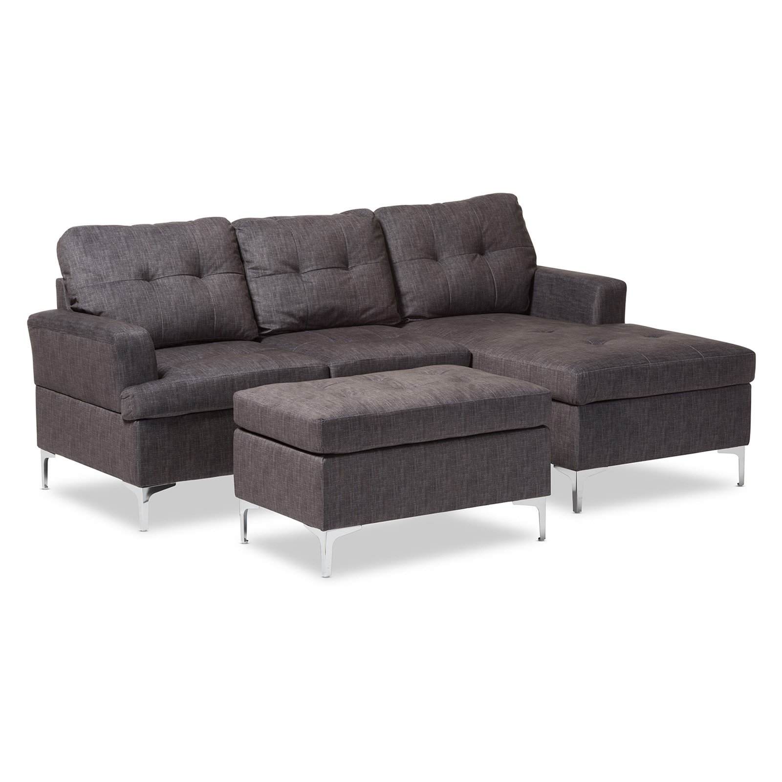 Riley Modern and Contemporary Fabric Upholstered 3 - Piece Sectional Sofa with Ottoman Set - Gray - Baxton Studio