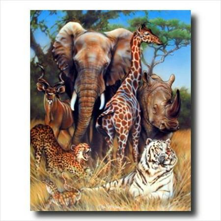 Elephant Giraffe Rhino African Wall Picture Art Print