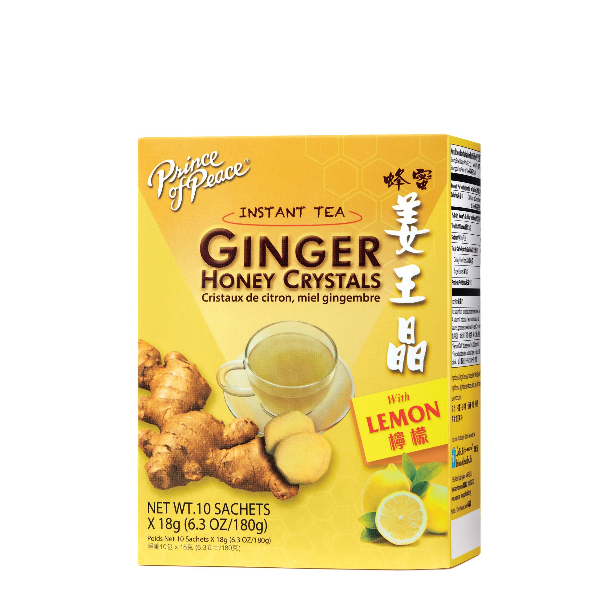 Prince of Peace Ginger Honey Crystals Instant Tea Bags, Lemon, 10 Ct