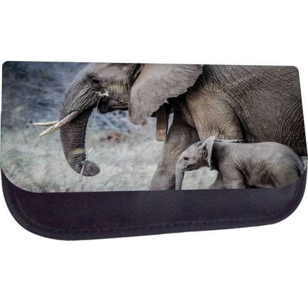 Black Pencil Case with 2 Zippered Pockets - Winter Elephants