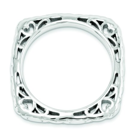 Sterling Silver Stackable Expressions Polished Rhodium-plate Square Ring Size 7 - image 1 of 3