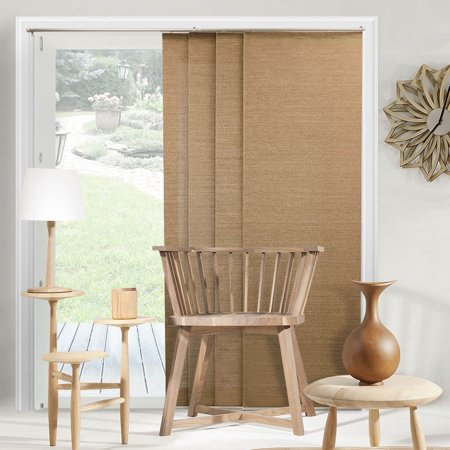 Siding Panels - Chicology Adjustable Sliding Panels, Cut to Length Vertical Blinds, Birch Truffle (Privacy & Natural Woven) - Up to 80
