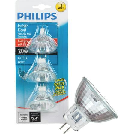 Philips 415687 Indoor Flood 20-Watt MR16 12-Volt Light Bulb, 3-Pack 12 Volt Mr16 Halogen Flood