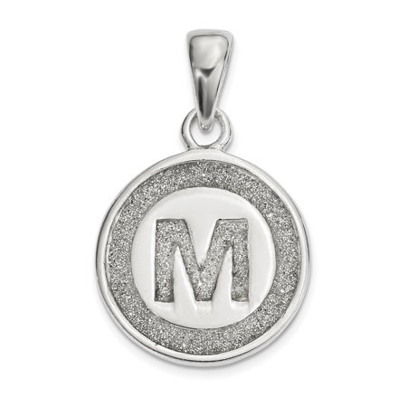 bf30c02ab4 S M Diamond Corp - Sterling Silver Glitter Enamel Letter M Circle ...