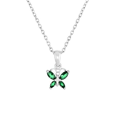 Sterling Silver Butterfly Pendant Necklace with Simulated Birthstone CZ for Girls, 16'' (May) (Butterfly For Girls)