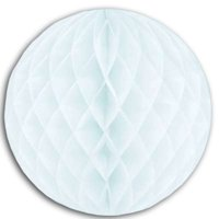"""Club Pack of 12 Snow White Honeycomb Hanging Tissue Ball Decorations 14"""""""