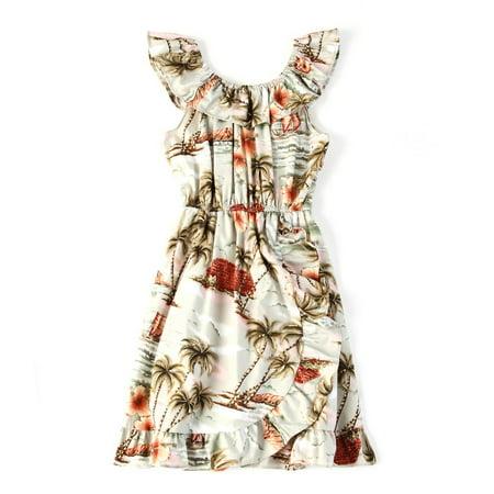 Made in Hawaii Luau Wrap Ruffle Dress in Grey Palm Scenery 2 ()