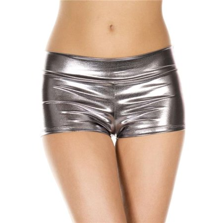 Metallic Booty Shorts with Waist Band - Dark Silver