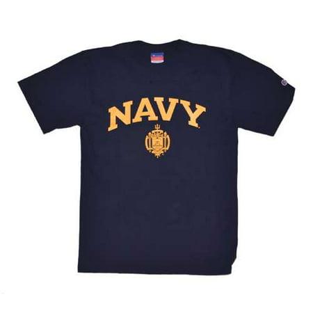Navy Midshipmen T-shirt By Champion, Arched Print, Navy