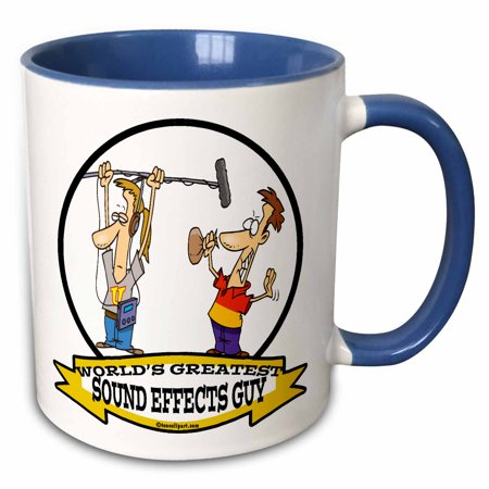 3dRose Funny Worlds Greatest Sound Effects Guy Cartoon - Two Tone Blue Mug, 11-ounce