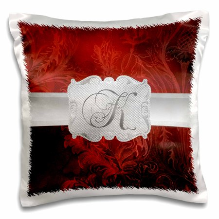Frame Pillow - 3dRose Letter K, Lavish Red Leaf Print with Silver Frame - Pillow Case, 16 by 16-inch