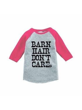 7 ate 9 Apparel Funny Kids Barn Hair Don't Care Baseball Tee Pink - 2T