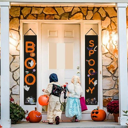 Boo Signs For Halloween (AkoaDa 2x Halloween Decor Banner-Funny Boo Spooky Door Sign for Home or Office)