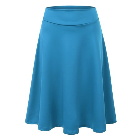 Doublju Womens High Waist Midi A-Line Band Skirt